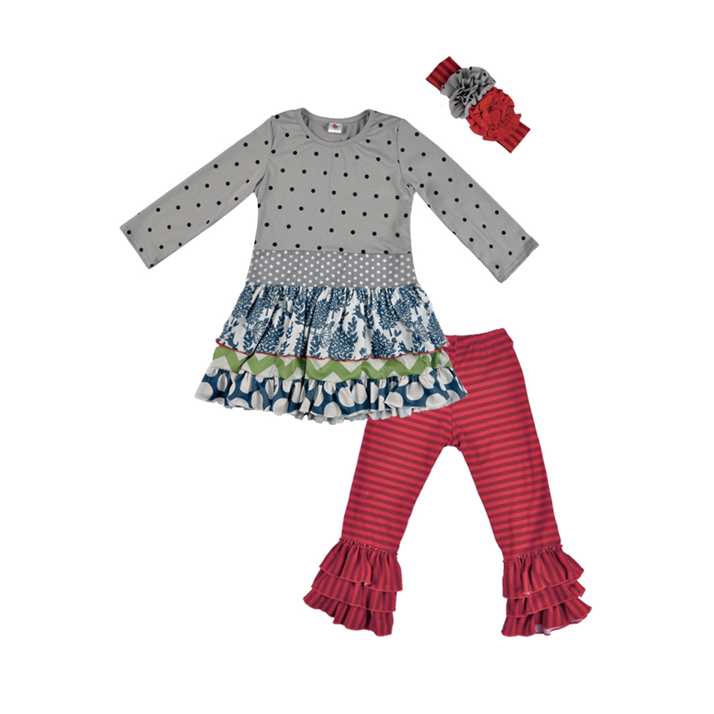Factory direct wholesale clothing children's wear outfit wholesale girls  ruffle clothing sets