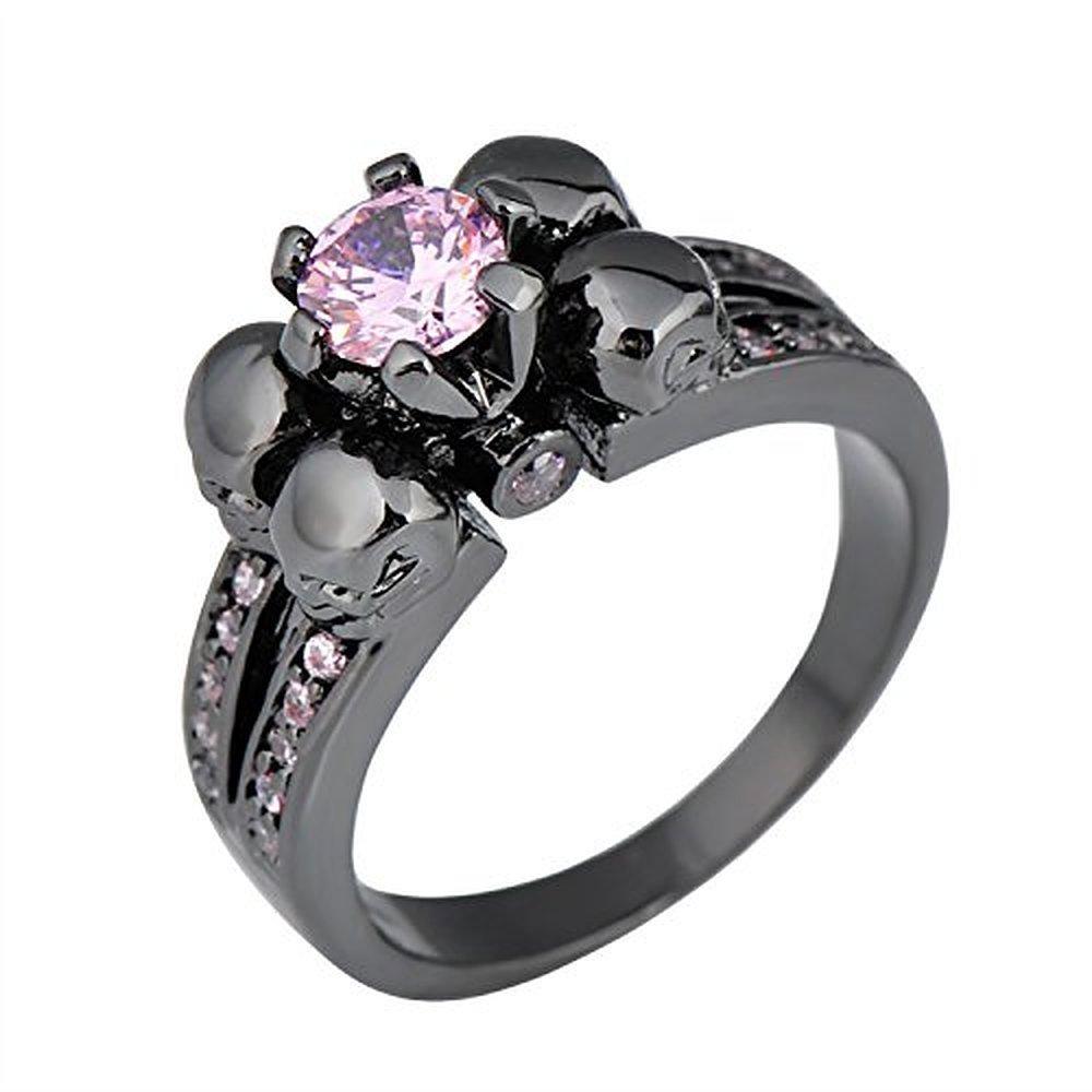 Sugar Memory Antique Black Skull Pink Sapphire Jewelry Women/Men Ring Anel Aneis Black Gold Filled Zircon Rings for Halloween Gift