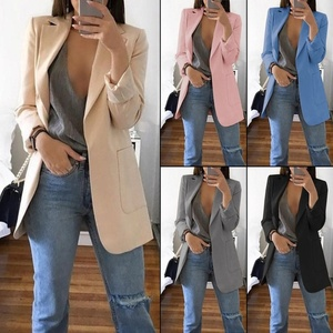 New Women Thin Blazer Office Lady Lapel Long Sleeve Coat Suit Slim Cardigan Solid Color Jacket Casual Tops