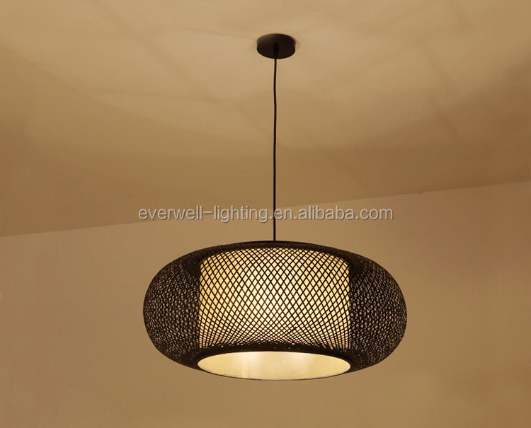 Retro Geweven Lamp Bamboe Ronde Kroonluchter Lamp Woonkamer Hanglamp ...