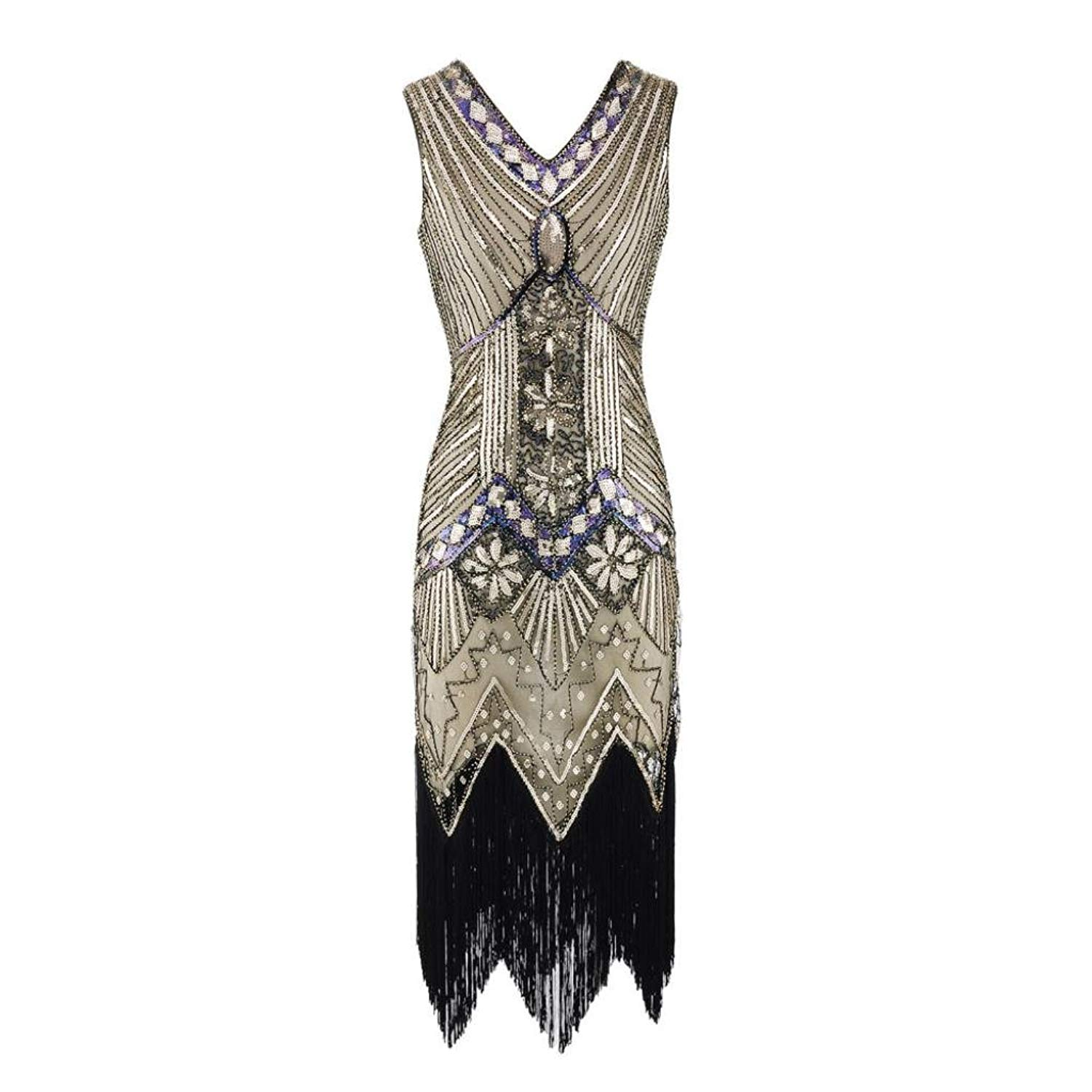 2295e006c41 Get Quotations · Ankola Long Prom Dress Women s Flapper Dresses Vintage  1920s V Neck Beaded Fringed Lace Tassels Hem