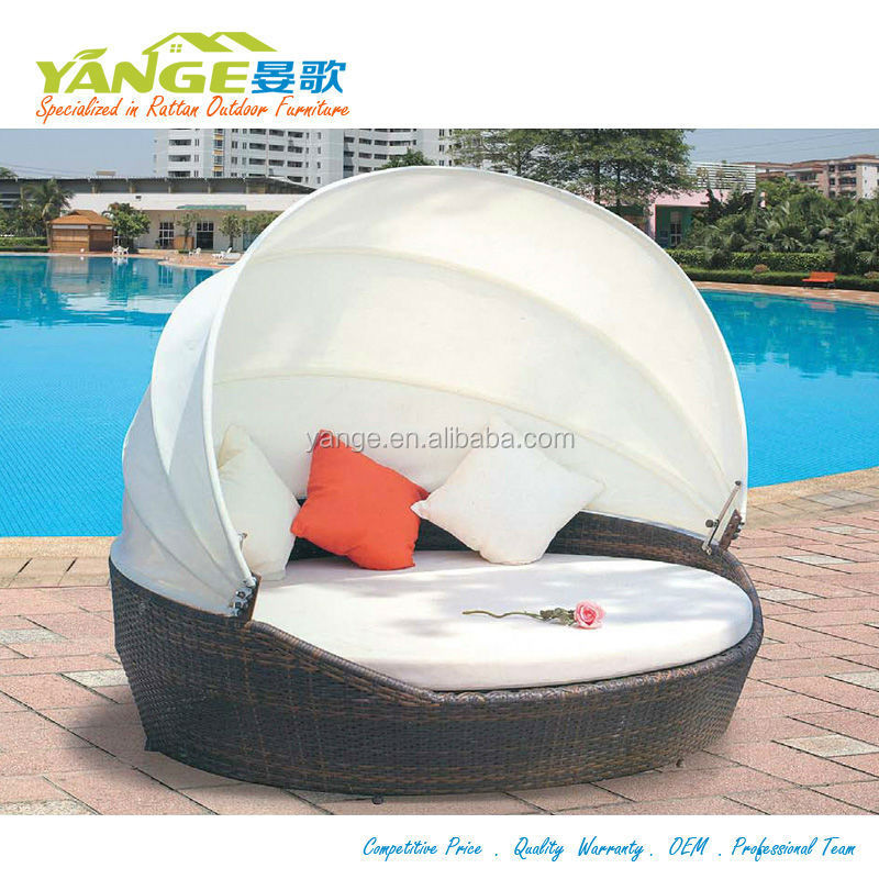 Round bed canopy bed swimming pool sofa bed rattan buy for Swimming pool bed