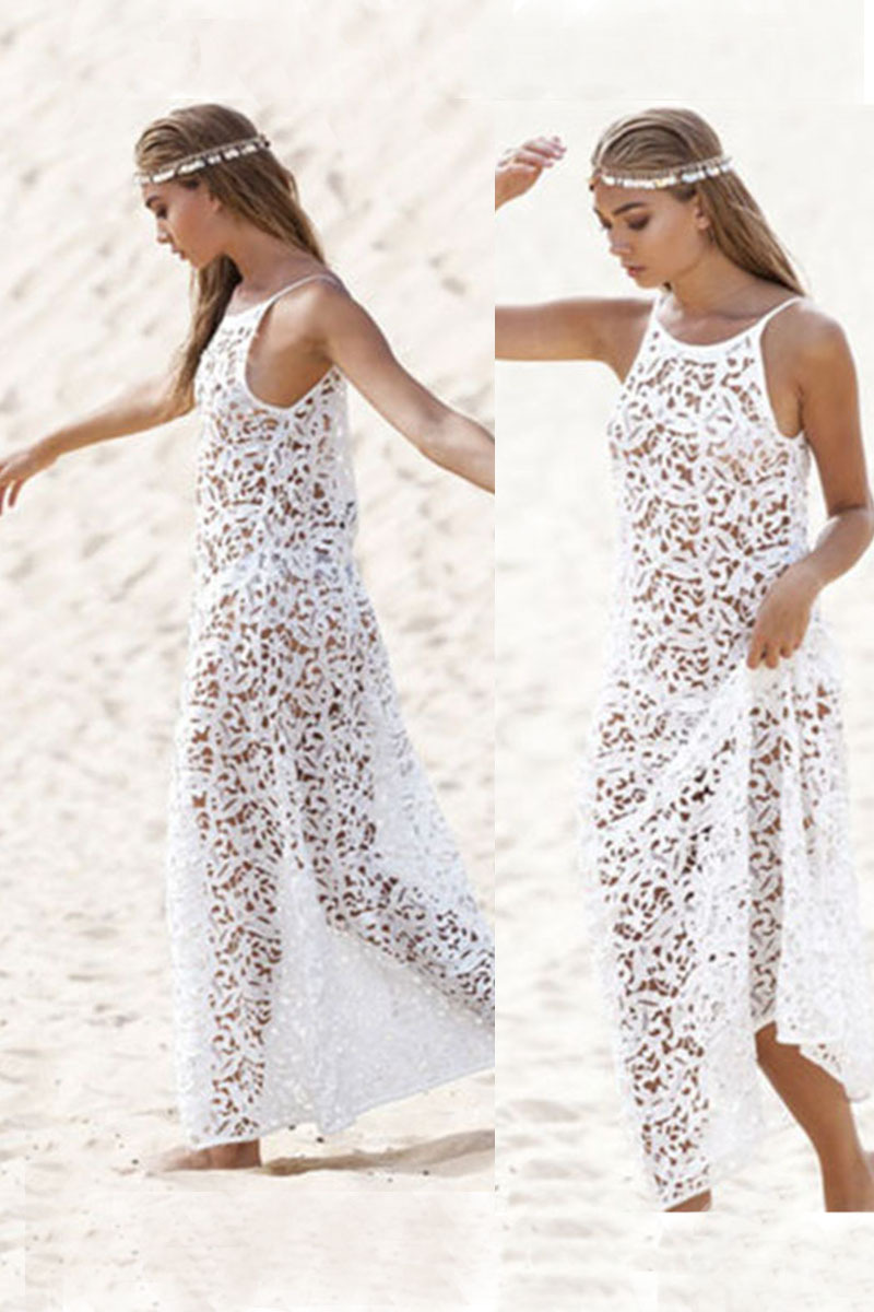 dfd73e2ab Buy Q1300 New Brand Women Dress Sexy Lace See Through White Hollow Halter Dress  Summer Dress Beach Dresses in Cheap Price on Alibaba.com