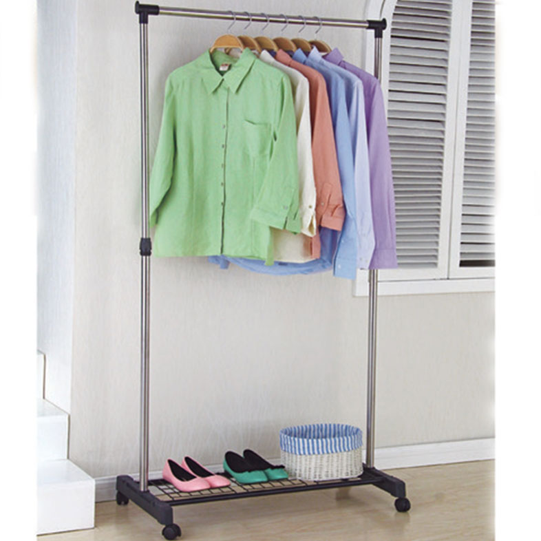 Functional single-pole cloth hangers with shoes