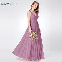 Длинные платья для выпускного Ever Pretty, платья из тюля с V-образным вырезом, без рукавов, трапециевидного силуэта, сине-зеленого, розового цвет...(China)
