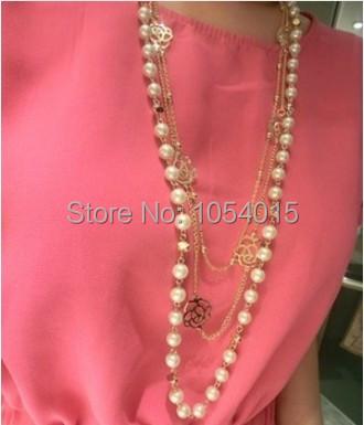 Новый Стиль мода многослойные имитация перл Цветок Длинный Цветок Цепь Свитера подвески ожерелье для женщин X-135