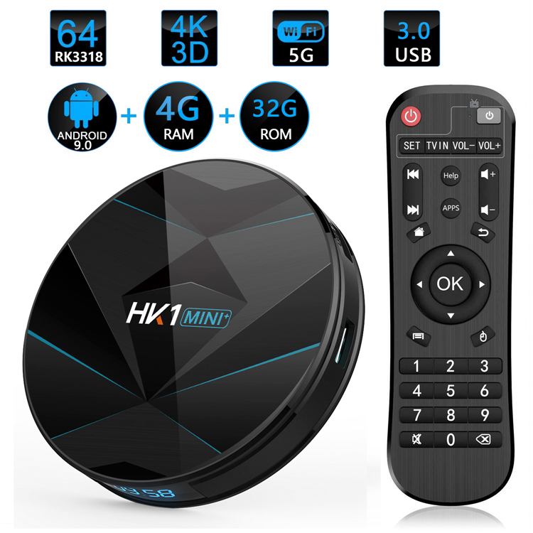 Di alta Qualità TVBOX HK1 MINI + RK3318 Quad Core 2 GB 16 GB Android 9 9.0 9.1 Wifi Internet Set top Box TV