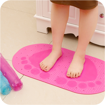Creative Pink Pvc Bubble Footprint Non Slip Bath Rug Mat For Textured Surface