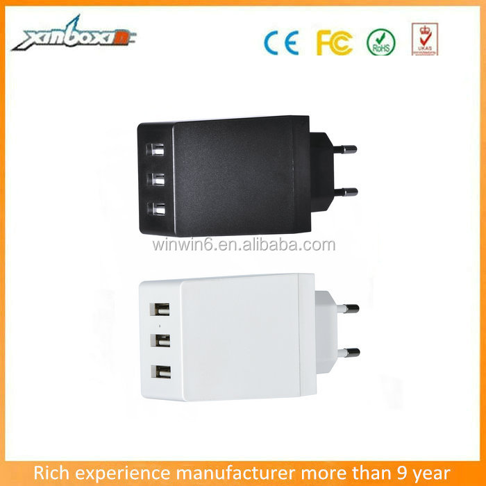 New Design CE 5V 6A EU Plug Cell Phone Battery Charger Multi USB Ports Wall Mount Charger with 3 USB Ports
