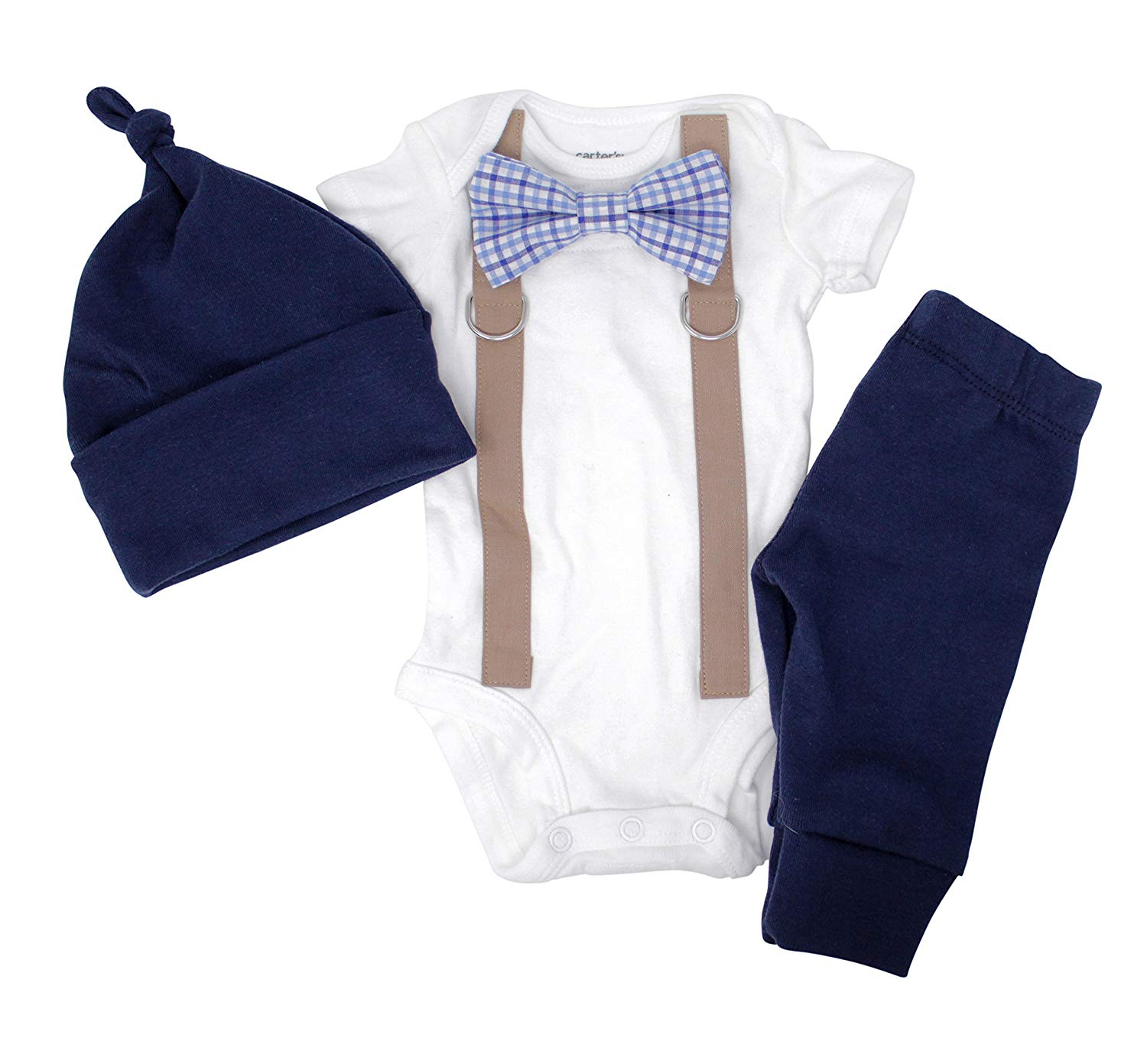 ab0727c291a6 Get Quotations · Cuddle Sleep Dream Newborn Boy Coming Home Outfit. Navy    Brown Bow Tie and Suspender