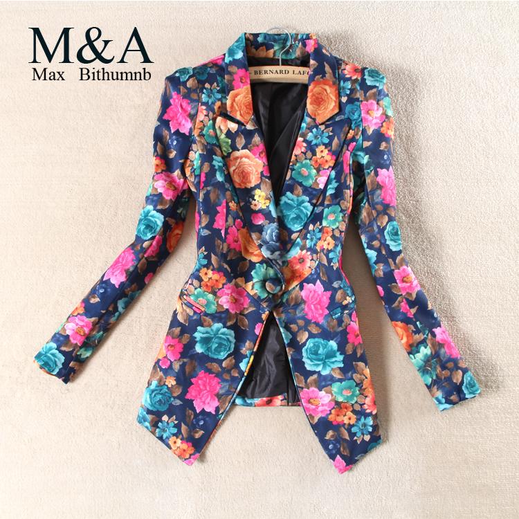 Новый 2015 женщин пиджак печатать цветок верхняя одежда урожай цветочные блейзер женщины пиджак Большой размер casacos femininos