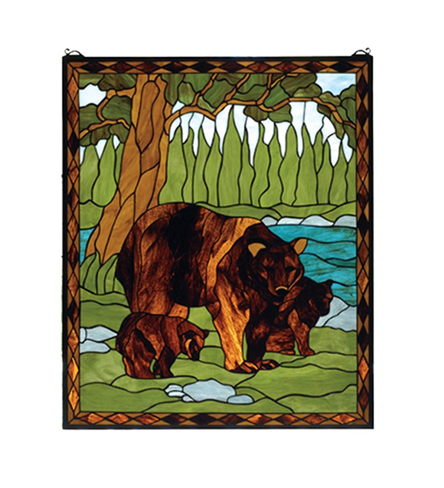 "Meyda Hand Crafted Designed Art Decorative Panel 25""W X 30""H Brown Bear Stained Glass Window"