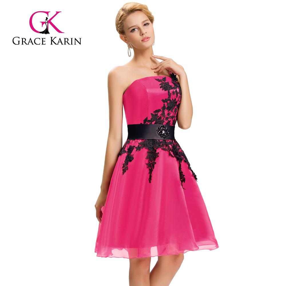 Gracia Karin Nuevo Color Corto Un Hombro Cóctel Profundo Rosa ...
