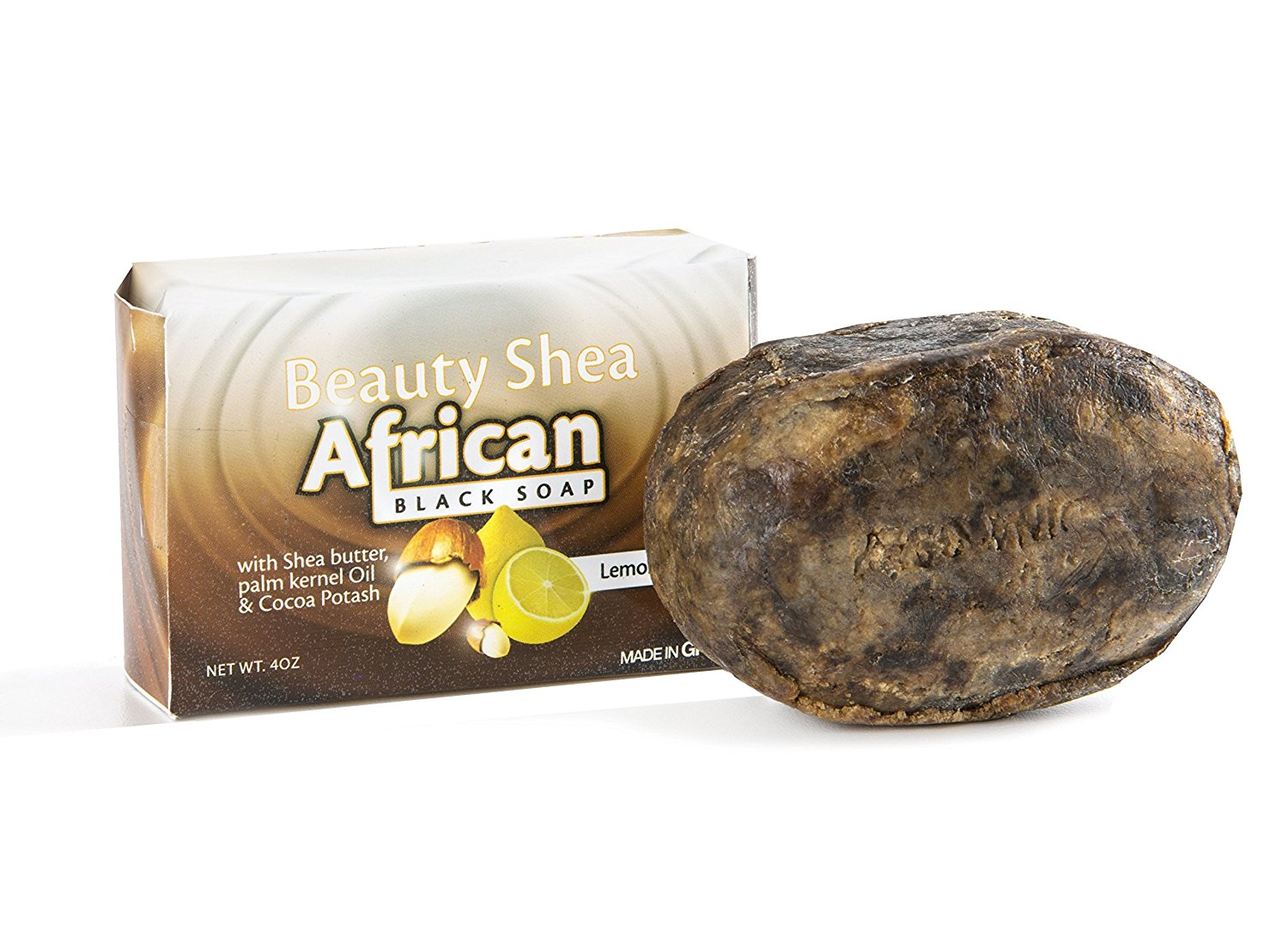 Beauty Shea – African Black Soap with Shea Butter, Palm Kernel Oil, and Cocoa Potash – Fragrant, 4oz.