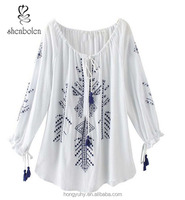 M40641 Michoacan Blouse Hand Embroidered & Woven Mexico, Frida, Hippie Santa Fe Style mexican clothing