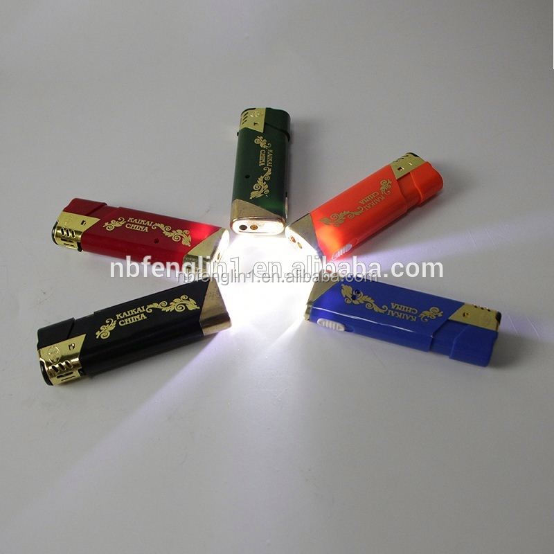 Refillable Natural Color Windproof Butane gas Plastic flint electronic piezo lighter parts with LED