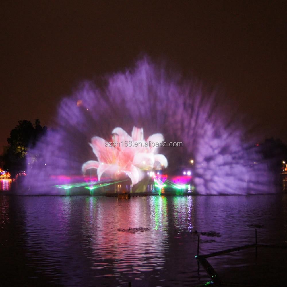Graphic Digital Water Screen Fountain Water Screen Projection Pool Fountain