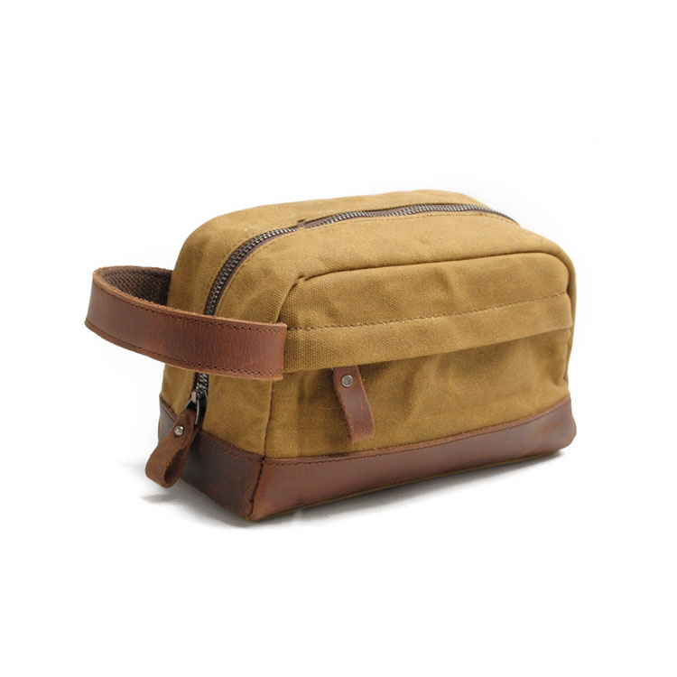 Travel waxed waterproof leather canvas toiletry pouch bag for men