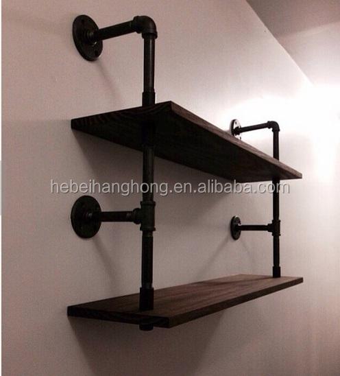 Industrial Furniture Wall Mounted Pipe Shelf