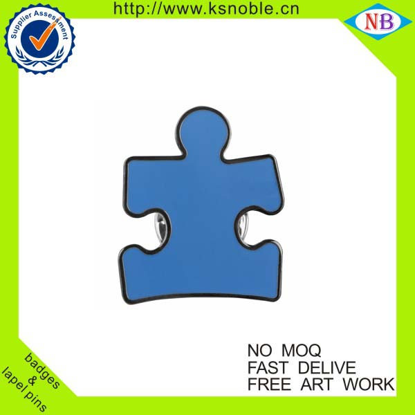Puzzle piece custom enamel lapel pin badges with butterfly clutch