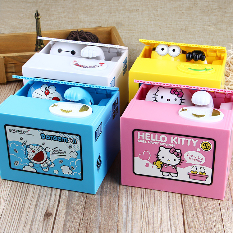 Hot Sale Stealing Money Dog Piggy Bank Plastic Piggy Bank Japanese cat coin bank money saving box