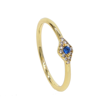 minimal gold plated ring thin band small rings lovely lucky turkish eye design delicate finger jewelry