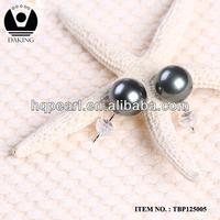 fashion jewelry pearl stud earrings tahitian black pearl Seawater cultured pearl