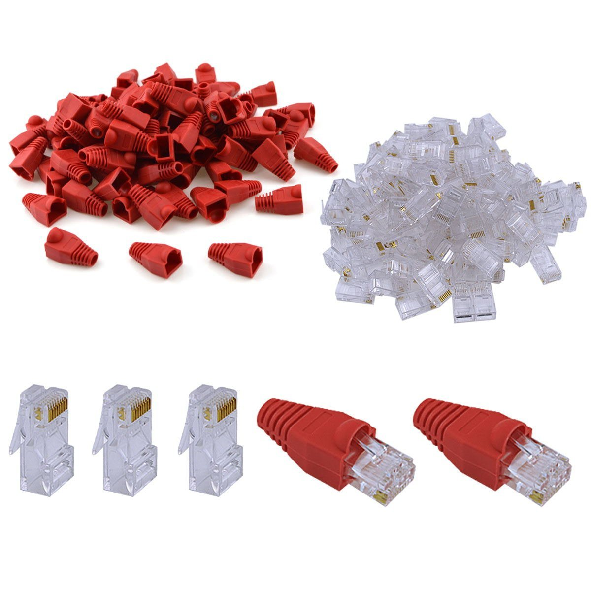 URBEST 100Pcs Plastic Ethernet RJ45 Cable Connector Boots Cover and 100pcs 8P8C Modular CAT5 Crystal Network Connector(RJ45 Boots Cover+ CAT5 Connector) (Red RJ45 Boots+8P8C Connector)
