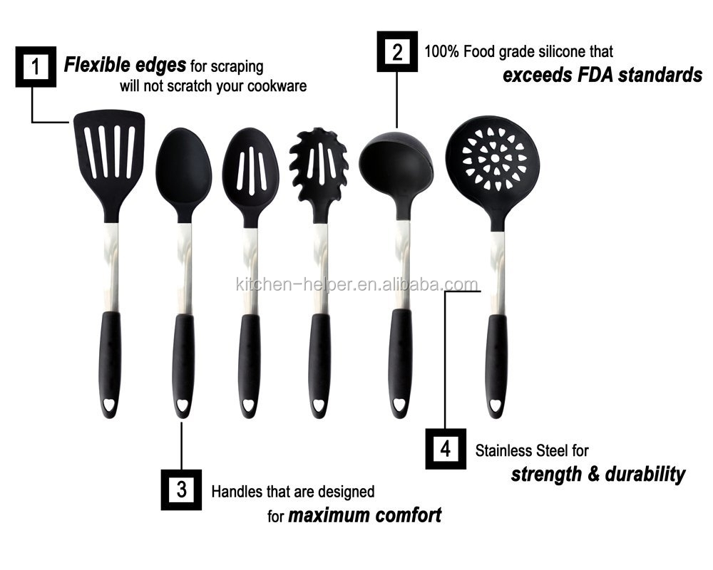 Amazon m s vendido productos set de acero inoxidable 6 for Lista utensili da cucina