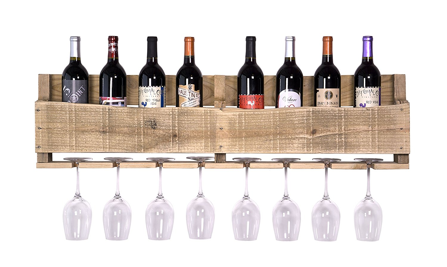 2019 Natural Handmade Wall Mounted 8 Bottle 8 Long Stem Glass Holder Wood Wine Rack Wholesale