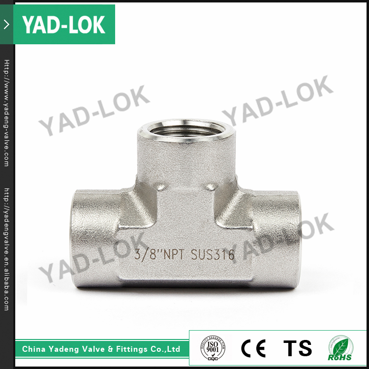 YAD-LOK Female Water Flow Control Pipe Fitting Threaded A105 Forged Steel Tee