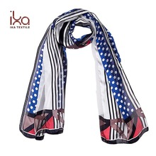Polka dot Screen print Long Summer Women Lurex Silk Satin Chiffon Fashion Scarf