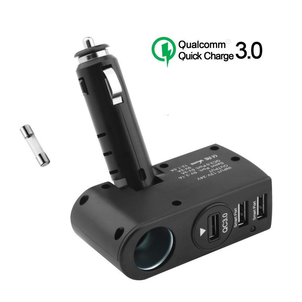 Wholesale portable 3 port USB Fast Charging Qc 3.0 12V 3 Port Micro Usb Car Charger Adapter for ipad/iphone/smartphone charging