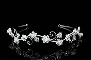 Delicate Wavy Rhinestones Crystal Flower Bridal Wedding Headband Tiara
