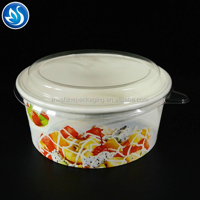 Hot selling salad food paper packaging box,disposable plastic salad bowl