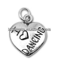 fashion wholesale i love dancing heart charm jewelry