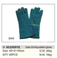 16'' green cow split leather welding glove