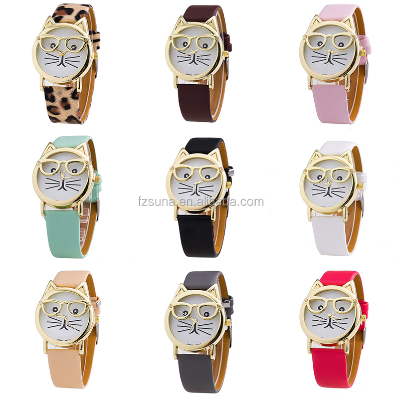 Trade Assurance 2017 Popular Cat Dial Leather Lady Watch Women Wrist Women Watches Ladies