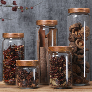 Heat Resistant Borosilicate Glass Storage Jar with Wooden Lid