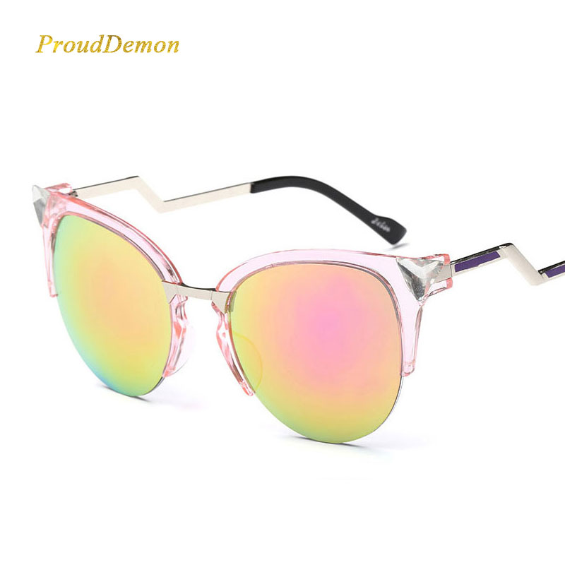 J1009 Bend Temple Alloy Frame Mirror Cateye Diamond Sunglasses from Italy Design Sun glasses2018