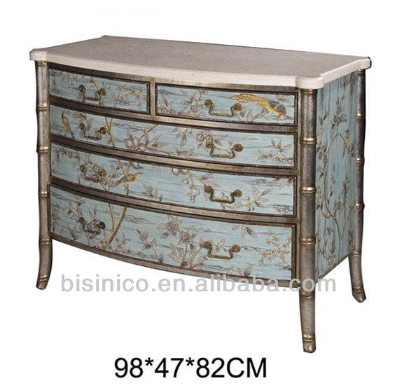 Exquisite Hand Painted Chest Of Drawers, Graceful Wooden Side Cabinet With  Floral Painting, Antique