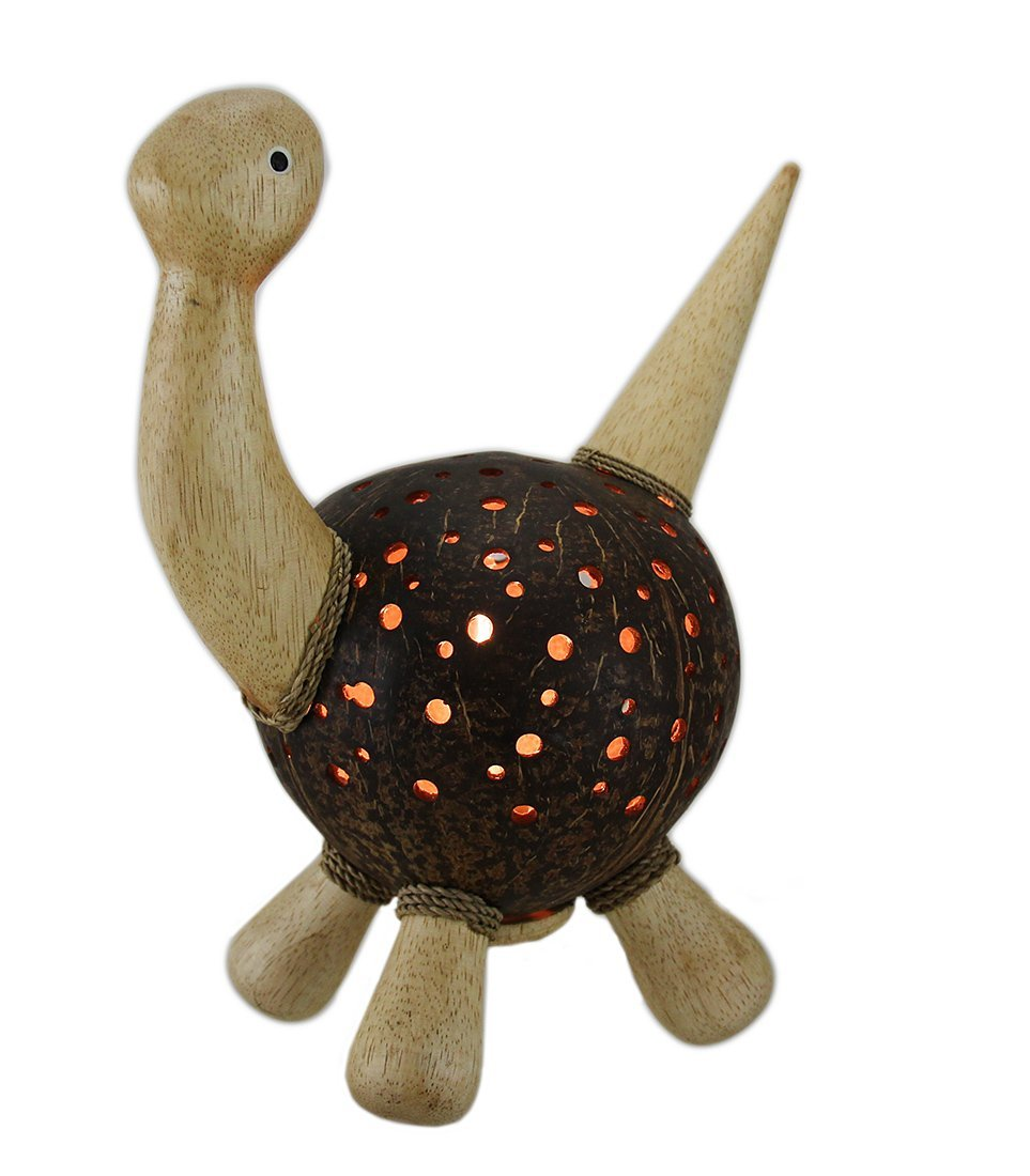 Wood Accent Lamps Recycled Coconut Shell And Wood Dinosaur Shaped Accent Lamp 25 In. 9 X 11 X 5.5 Inches Brown