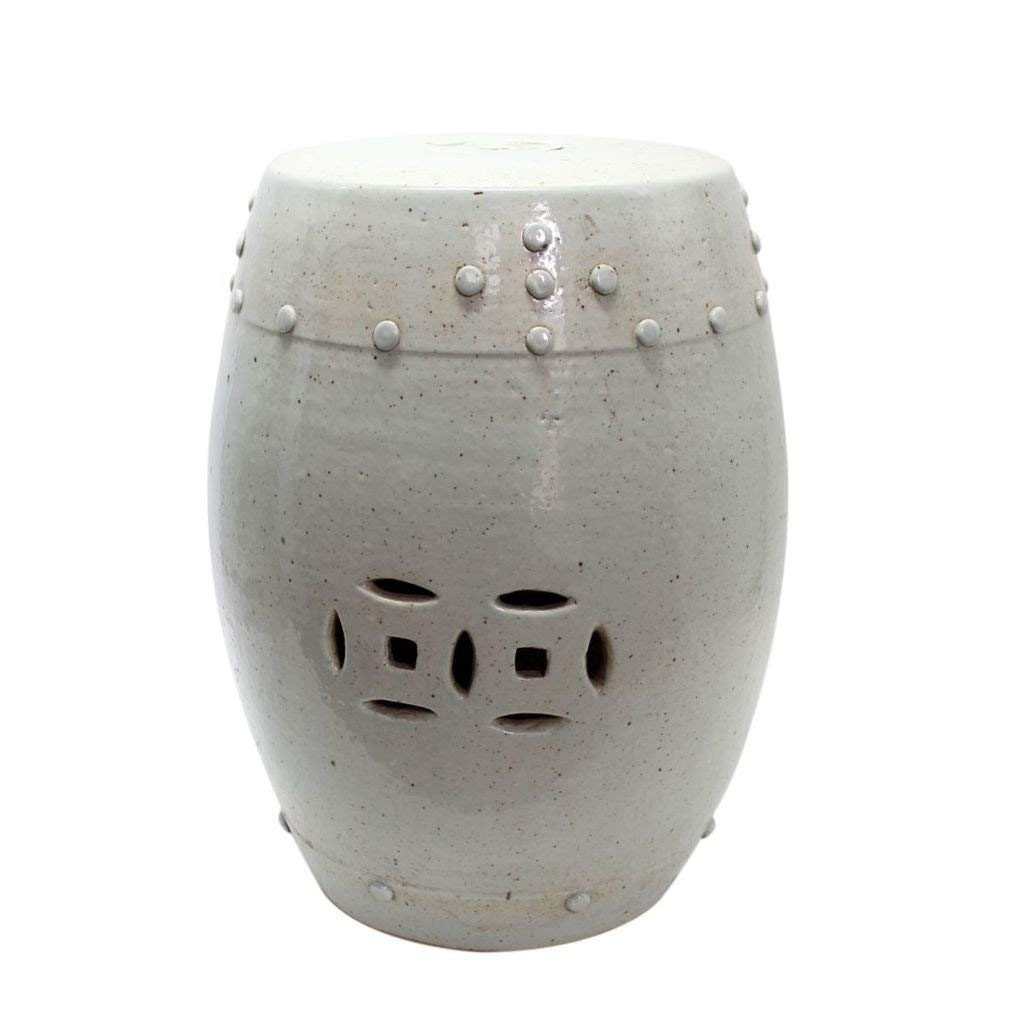 Legends of Asia Asian Traditional Chinese Vintage White Decorative Garden Stool