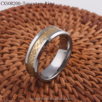 Mens Wholesale Tungsten Carbide Rings With Gold Dragon