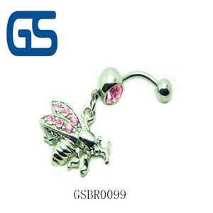 Wholesale stainless steel animal bee shaped body piercing belly button ring for girl