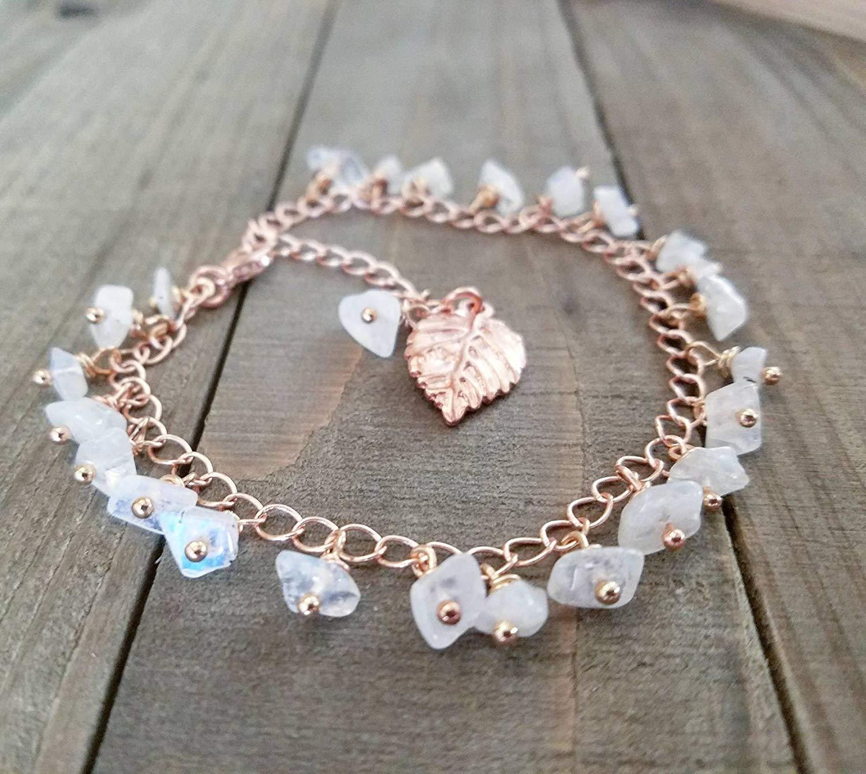 Ankle bracelet | Rose gold anklet | Rainbow moonstone | beaded anklets | summer jewelry | boho rose gold | leaf charm