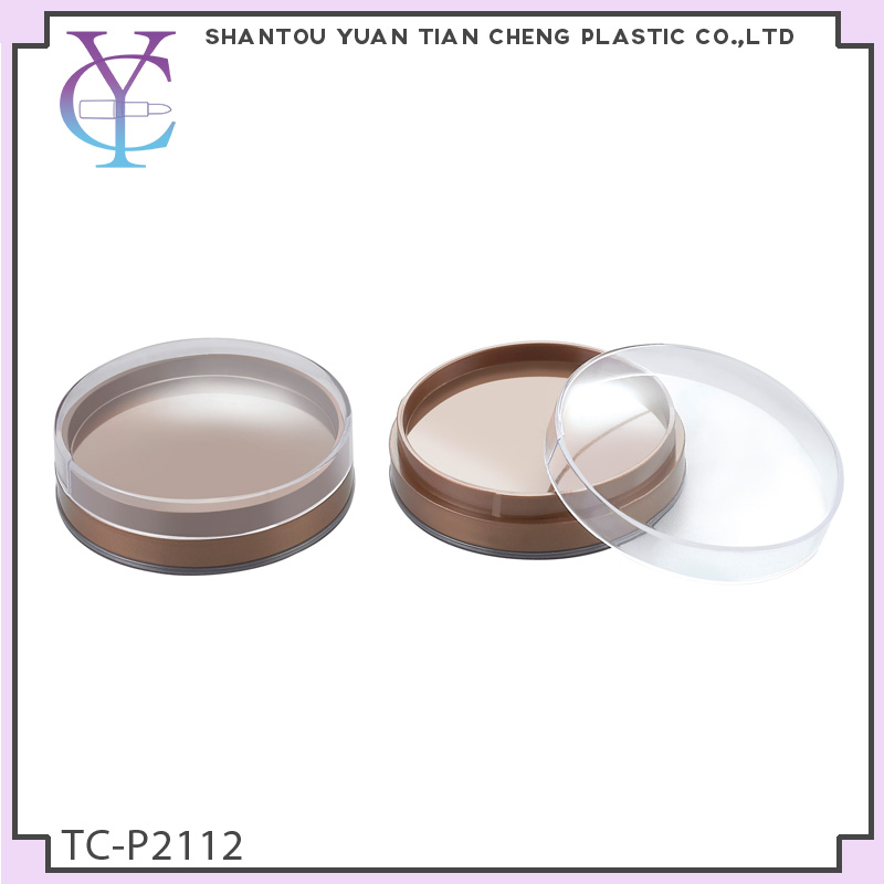 transparent circular plastic blush powder compact case with mirror