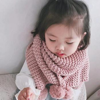 S12196B New Double Ball Scarf Children Winter Baby Neck Warm Scarves Boy Girl Knitted Scarf Collar Baby Kids Solid Color