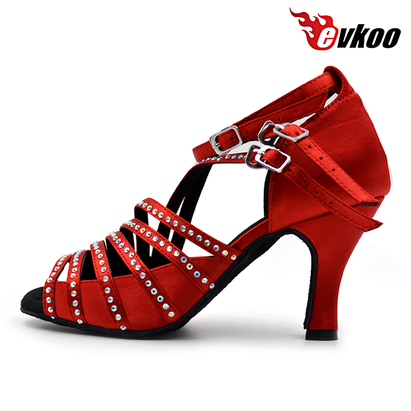Premium red crystal diamond salsa shoes women latin dance shoes with satin upper materials sandals style triple buckle