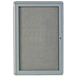 "Radius Design Wall Mounted Enclosed Bulletin Board Frame Color Medium Grey, Size: 36"" H x 24"" W"